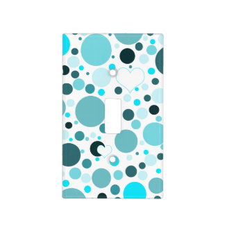Teal Blue Polka Dots White Hearts Light Switch Cover