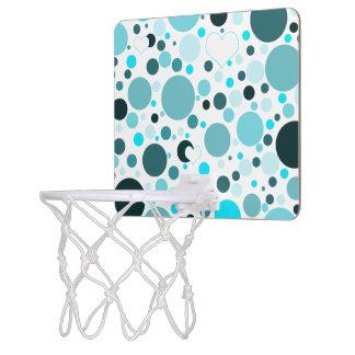 Teal Blue Polka Dots White Hearts Mini Basketball Hoop