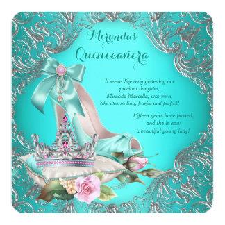 "Teal Blue Princess Tiara Quinceanera 5.25"" Square Invitation Card"