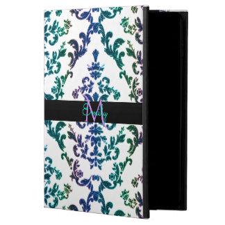 Teal Blue Purple Damask Monogram iPad Air 2 Case