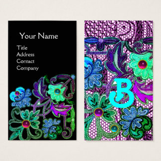 TEAL BLUE PURPLE LACE FLOWERS GEMSTONES Black Business Card