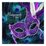 Teal Blue Purple Peacock Masquerade Party