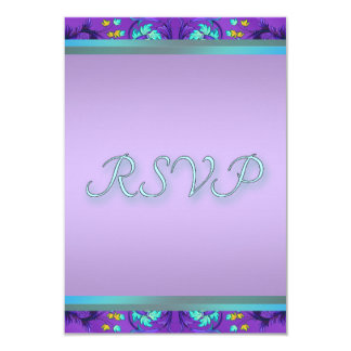 Teal Blue Purple RSVP Template Card