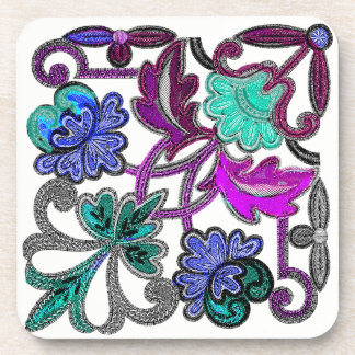 TEAL BLUE PURPLE WHITE LACE FLOWER COASTER