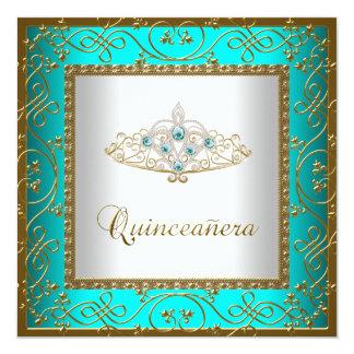 "Teal Blue Quinceanera Gold Tiara 5.25"" Square Invitation Card"
