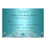 "Teal Blue Silver Floral Swirl RSVP 3.5"" X 5"" Invitation Card"