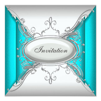Teal Blue Silver Party Card