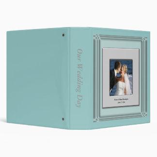 Teal Blue Silver Photo Frame Wedding Vinyl Binders