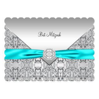 Teal Blue Silver Teal Bat Mitzvah Card