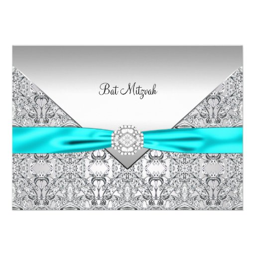 Teal Blue Silver Teal Bat Mitzvah Personalized Announcement