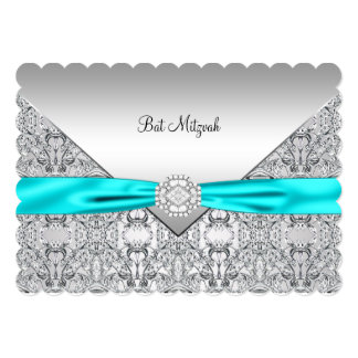 "Teal Blue Silver Teal Bat Mitzvah 5"" X 7"" Invitation Card"