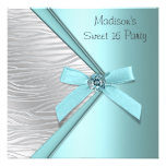 Teal Blue Silver Zebra Sweet 16 Party
