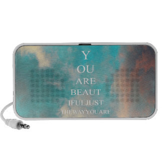 Teal Blue Sky Love Quote iPod Speaker