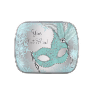 Teal Blue Snowflake Sweet 16 Masquerade Party