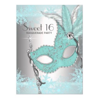 """Teal Blue Snowflake Sweet 16 Masquerade Party 6.5"""" X 8.75"""" Invitation Card"""