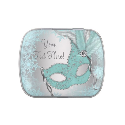 Teal Blue Snowflake Sweet 16 Masquerade Party Jelly Belly Tin