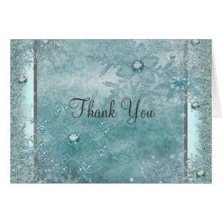 Teal Blue Snowflake Thank You Cards
