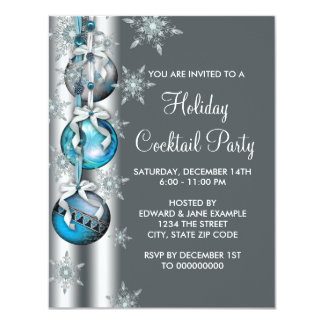 Teal Blue Snowflakes Ornaments Christmas Party Card