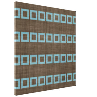 Teal Blue Squares Pattern On Dark Coffee Brown Canvas Print