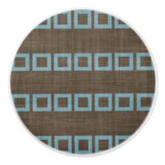 Teal Blue Squares Pattern On Dark Coffee Brown Ceramic Knob