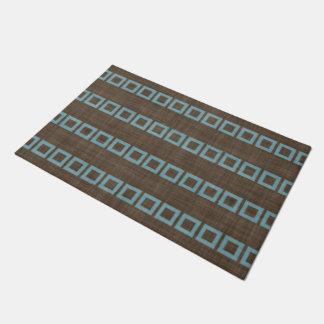 Teal Blue Squares Pattern On Dark Coffee Brown Doormat