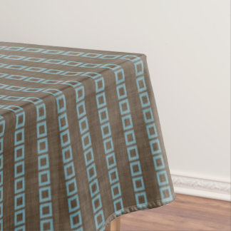 Teal Blue Squares Pattern On Dark Coffee Brown Tablecloth