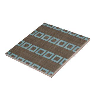 Teal Blue Squares Pattern On Dark Coffee Brown Tile