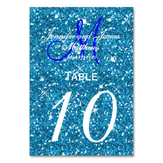 Teal Blue Starry Night Wedding Table Number Card