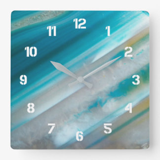 Teal Blue Stone Pattern Square Wall Clock