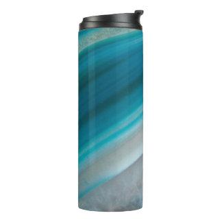 Teal Blue Stone Pattern Thermal Tumbler