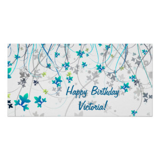 Teal Blue Streamers Birthday Party Banner Poster