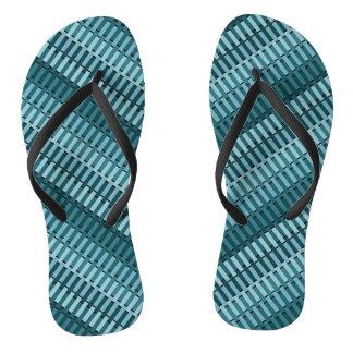 Teal Blue Stylish Modern Abstract Stripe Pattern Flip Flops