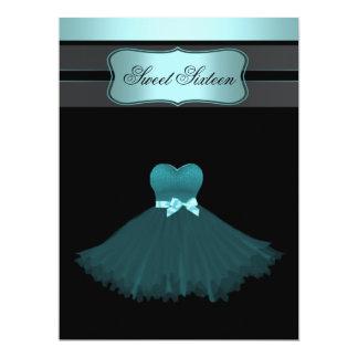 "Teal Blue Sweet Sixteen Birthday Party 6.5"" X 8.75"" Invitation Card"