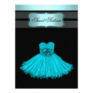 Teal Blue Sweet Sixteen Birthday Party Invitations