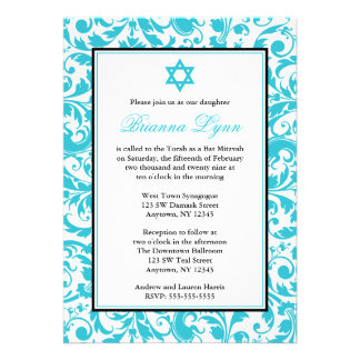 Teal Blue Swirl Damask Bat Mitzvah Invitations Personalized Invitations