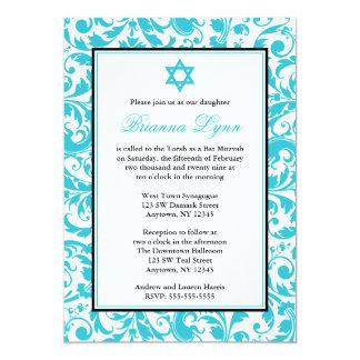 Teal Blue Swirl Damask Bat Mitzvah Invitations