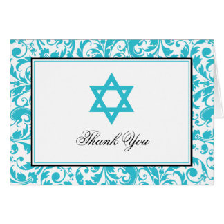 Teal Blue Swirl Damask Star of David Thank You Card