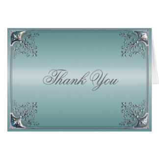 Teal Blue Thank You Card