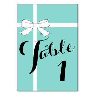 Teal Blue Tiffany Party Number Table Cards