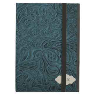 Teal Blue Tooled Leather Look Personalized iPad Air Covers