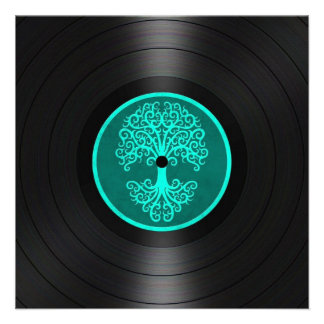 Teal Blue Tree of Life Vinyl Record Graphic Invitation