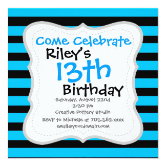 Teal Blue Turquoise and White Stripes Pattern Card
