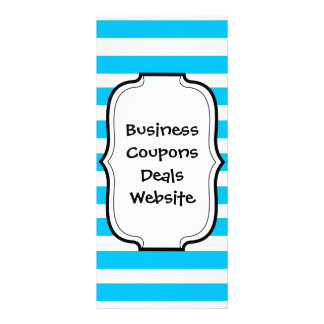 Teal Blue Turquoise and White Stripes Pattern Rack Card Design