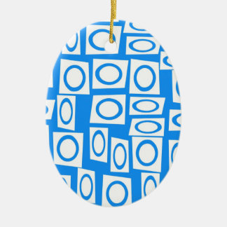 Teal Blue Turquoise White Circle Square Pattern Christmas Ornament
