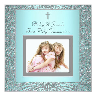 """Teal Blue Twins Photo First Communion 5.25"""" Square Invitation Card"""