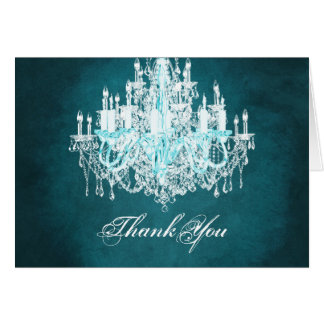 Teal Blue Vintage Chandelier Thank You Cards