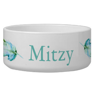Teal Blue Watercolor Feathers Pet's Name Dog Bowl