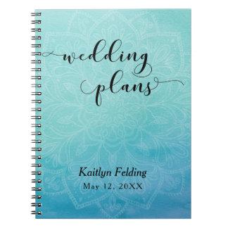 Teal & Blue Watercolor & Mandala Wedding Planner Spiral Note Books