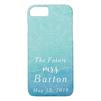 """Teal & Blue Watercolor """"The Future Mrs"""" Typography iPhone 8/7 Case"""