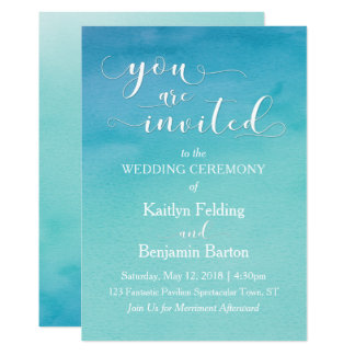 Teal & Blue Watercolor Wedding You Are Invited, 5b Card